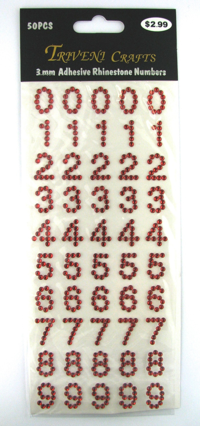 16mm Red Numbers Flatback Rhinestones (50 pcs) Self-Adhesive - Easy Peel Strips