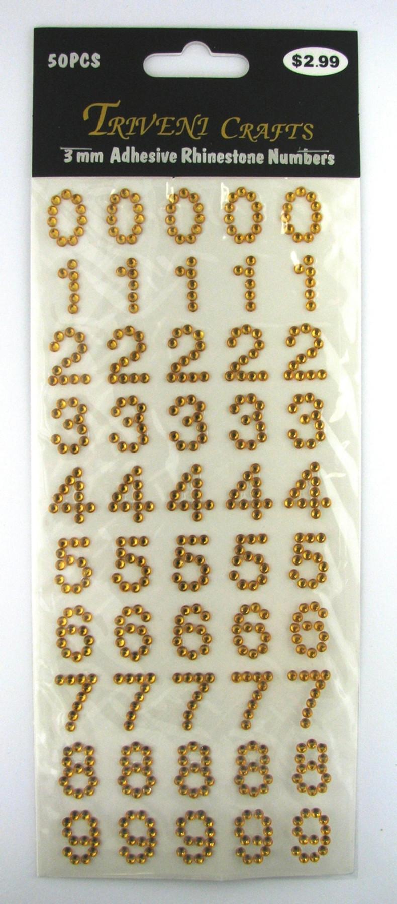 16mm Topaz Numbers Flatback Rhinestones (50 pcs) Self-Adhesive - Easy Peel Strips