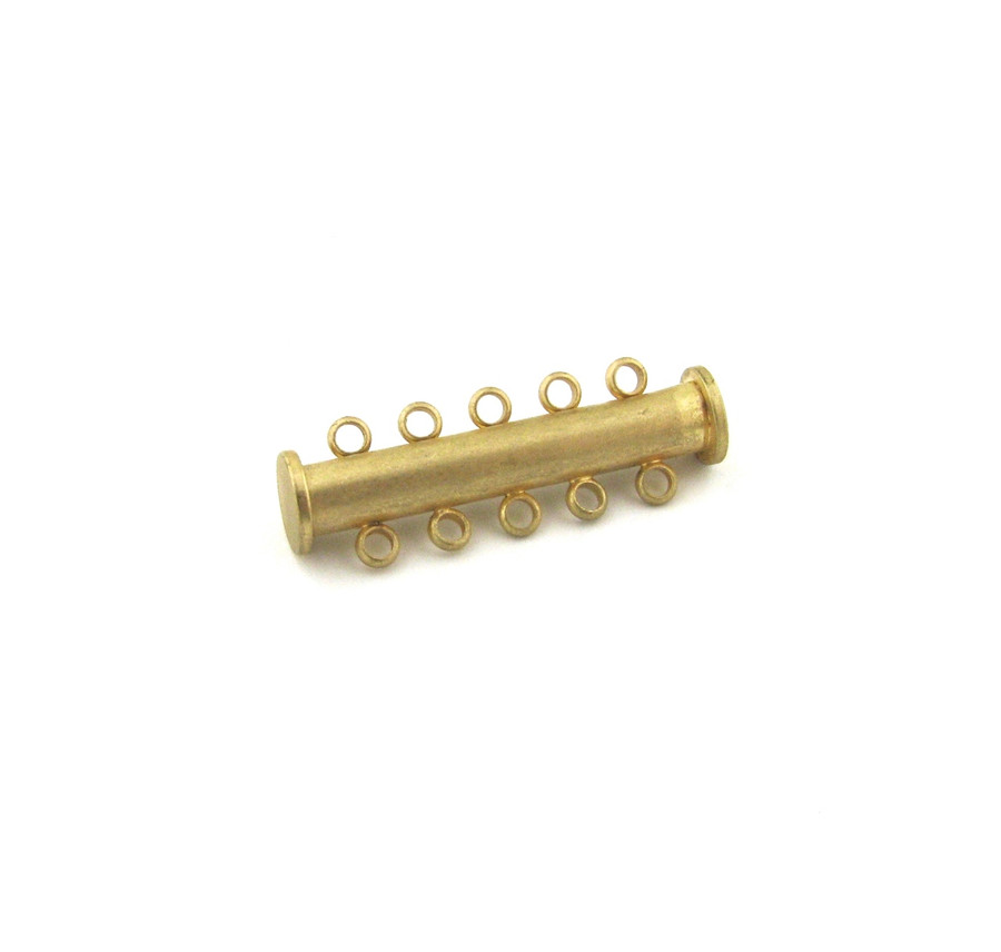 SHGP018 - 30mm 5-Strand Magnetic Tube Clasp, Satin Hamilton Gold Plated (each)