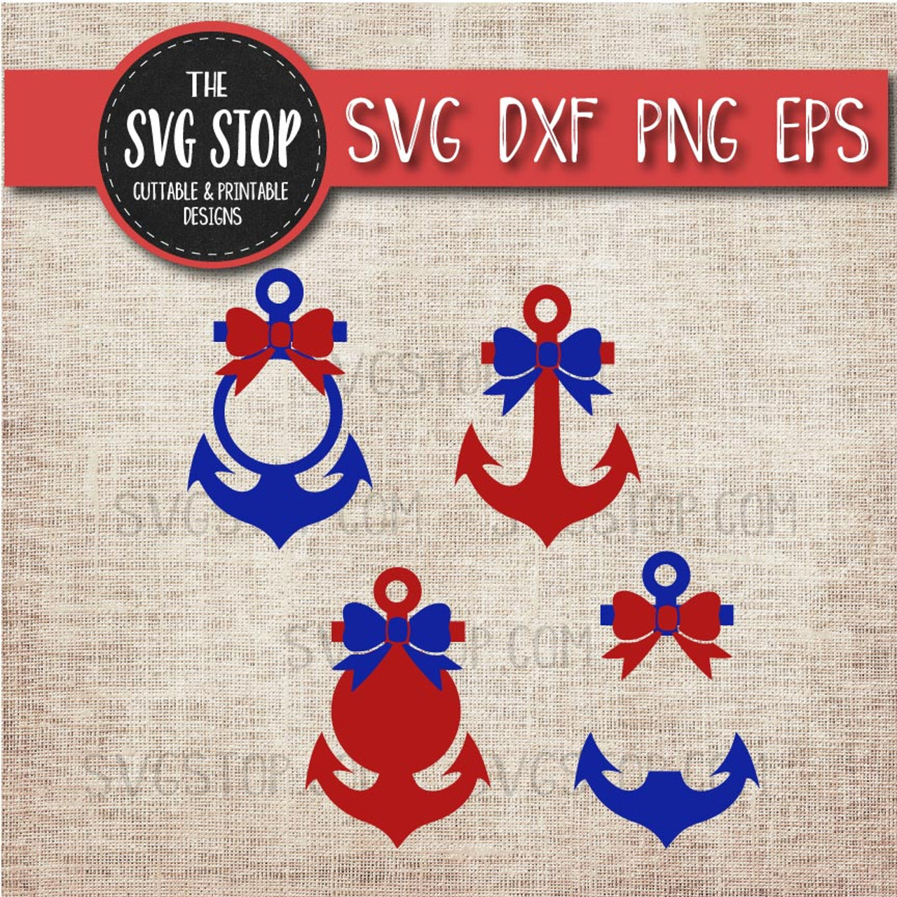 Anchor Monogram Frames with Bows Svg Cut File Clipart | The SVG Stop