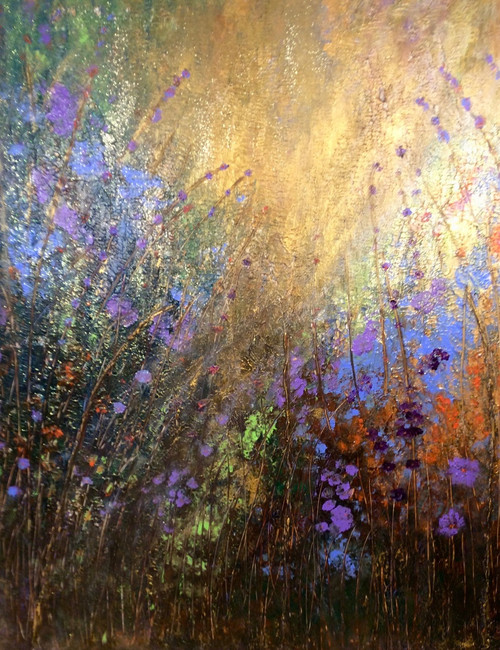 Heaven Scent a large original  mixed media painting on canvas. 48 x 60