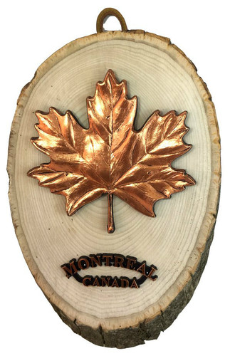 AFG Wood Slab Plaque - Maple Leave, Montreal, Canada