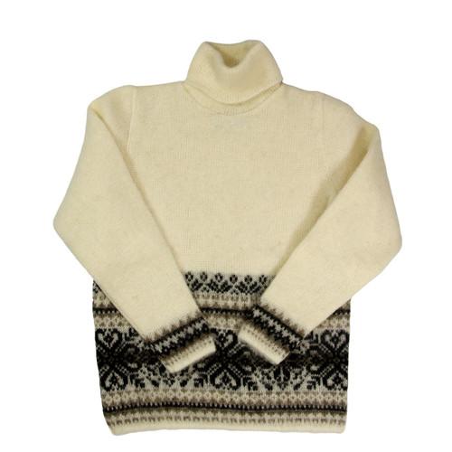 Icelandic Wool Ladies Turtleneck Sweater (Cream / Brown) by Freyja