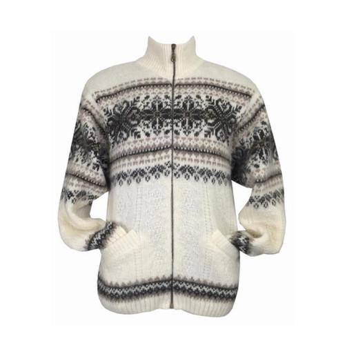 Icelandic Wool Men's Zipper Turtleneck Cardigan (Cream) by Freyja