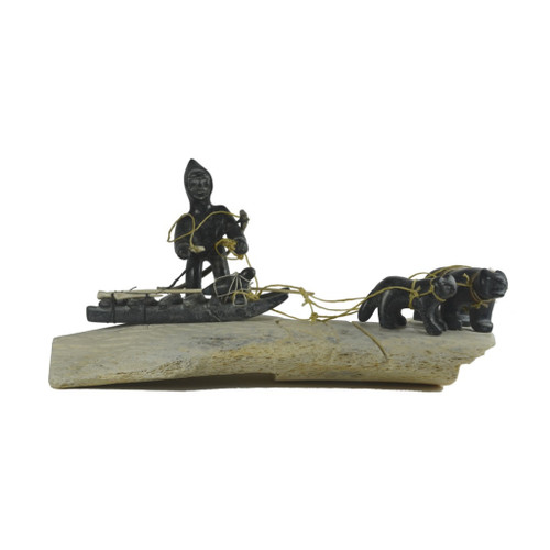 Inuit Hunting With Qamuti Sculpture by Henry Ainalik