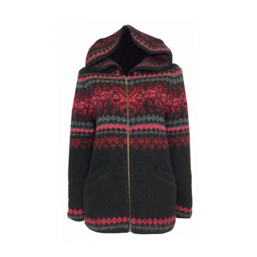 Icelandic Wool Ladies Zippered Cardigan / Hood (Black / Red) by Freyja