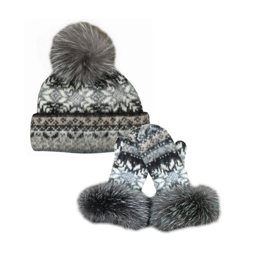 Icelandic Wool Ladies PomPom Toque / Mitten Set (Oatmeal / Chocolate) by Freyja