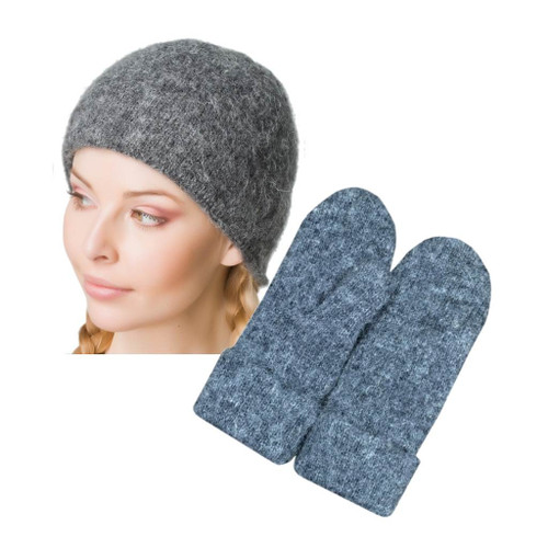 Icelandic Wool Ladies Toque / Mitten Set (Grey) by Freyja