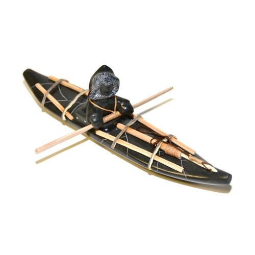 Inuit Kayak Scene Sculpture 846007999 by Peter Iqalug