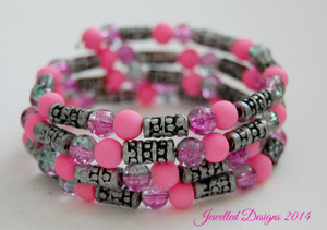 Pink and silver wrap bracelet