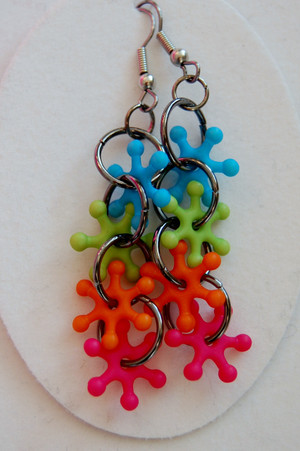 Funky long drop earrings