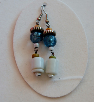 Aquamarine blue beads and Opaque white glass drop earrings