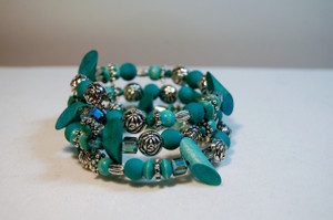 Teal and Turquoise Bead Wrap Bracelet