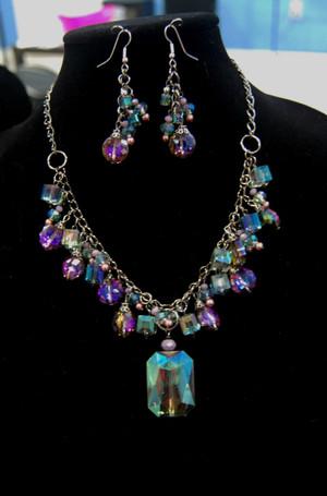 Rectangular Crystal Drop Necklace Set