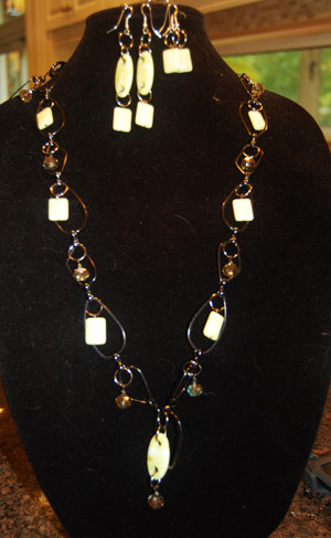 Yellow Agate on Abstract Gun Metal Chain long necklace set