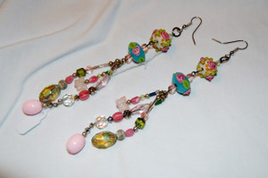 Extra long Floral Drop earrings