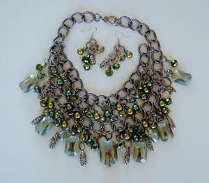 Green Crystal Cluster necklace set
