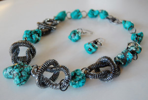 Turquoise Rock with Gun Metal Mesh Loops