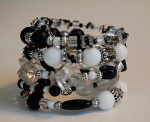 Black and White Agate wrap bracelet