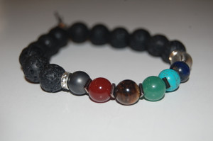 """Balance Your 7 Chakras"" Healing Bracelet with Lava Stone & Copper Spacers"