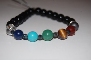 """Balance Your 7 Chakras"" Healing Bracelet with Obsidian stones - Crystal Spacers"