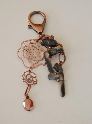 Copper Rose and Dark Grey Crystal Quartz Keychain