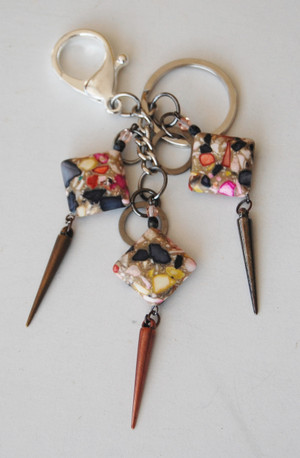 Multi Colour Stones with Spikes Keychain