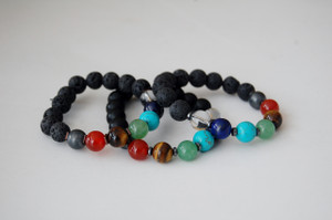 "Men's ""Balance Your 7 Chakras"" Healing Bracelet with Black Onyx"