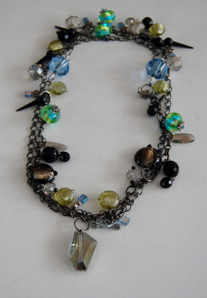 Multi Coloured Crystals and Glass Beads Necklace set