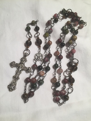 Tourmaline with Smoky Quartz and Hematite Rosary