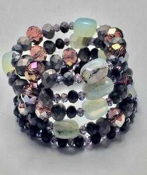 SemiPrecious Gemstones, Hematite, and Crystals WrapBracelet