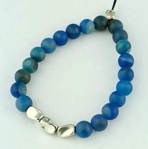 Blue Striped Agate with Silver Accents
