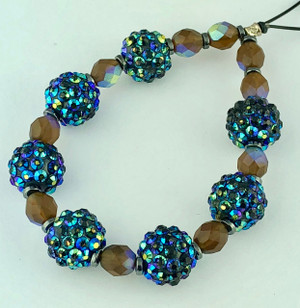 Stunning Shades of Blue Crystal Cluster Beads with Opaque Glass Bead Accents