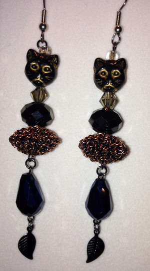 Black Crystals, Bronze wirework and Cat Head Earrings