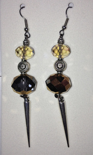 Bronze and crystal drop earrings
