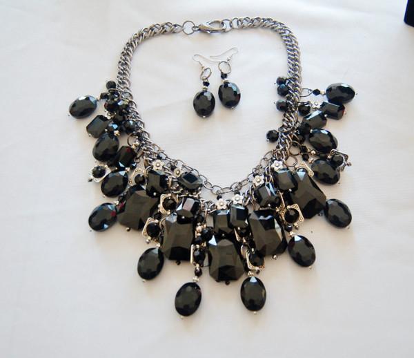 Black Crystal Cluster Statement Necklace