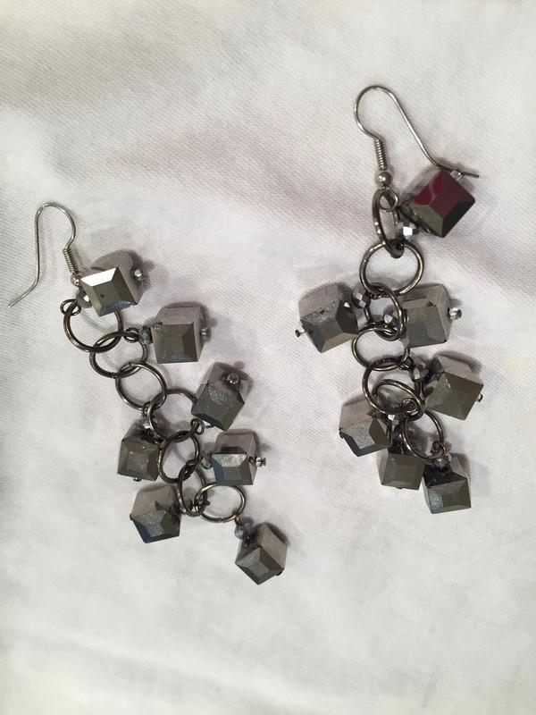 Gun Metal Grey Cubes Drop Earrings