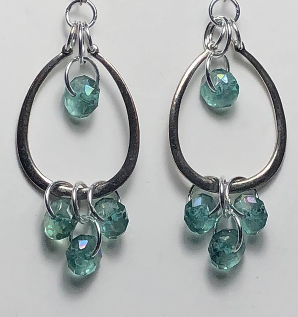 Gorgeous Silver Drop earrings with Turquoise Crystals