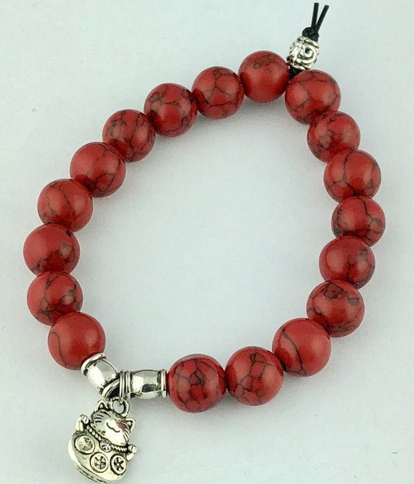 Dyed Red Turquoise Bracelet with Chinese Lucky Cat Charm
