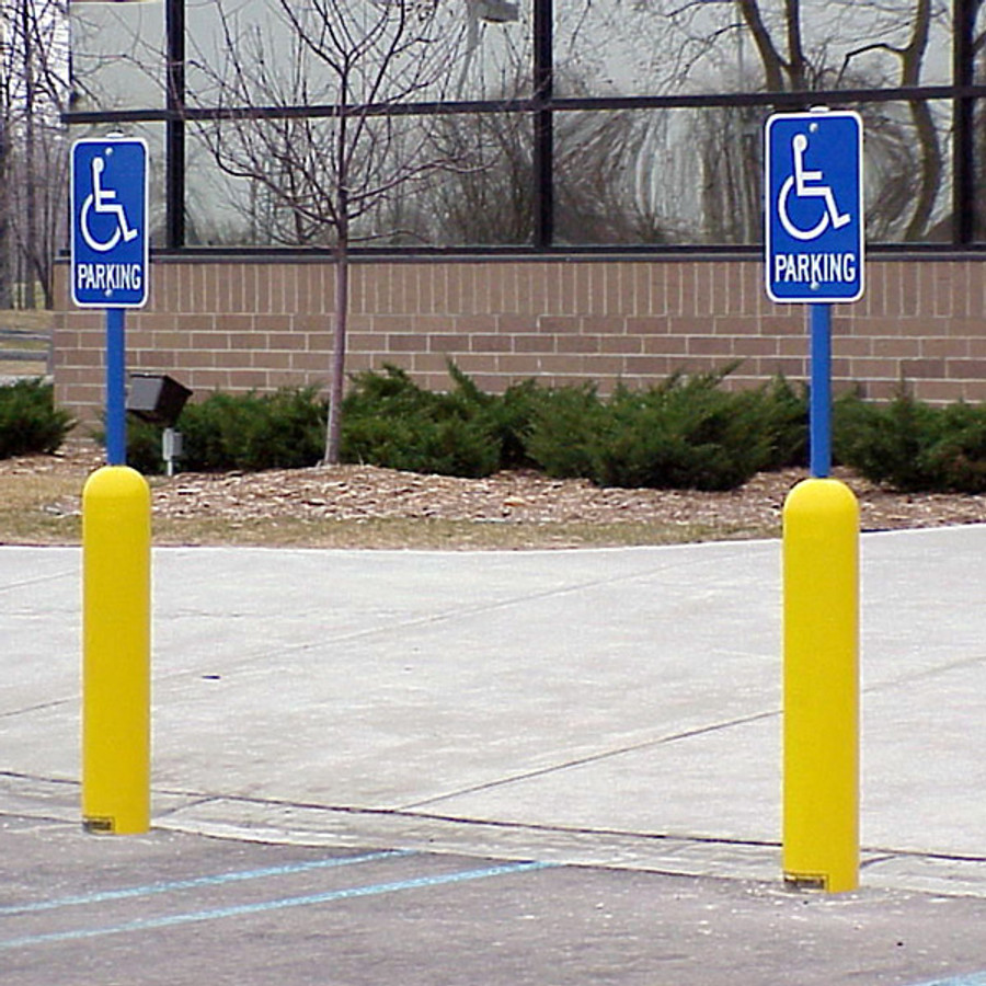 Bollard Sign System with yellow bollard cover and blue post