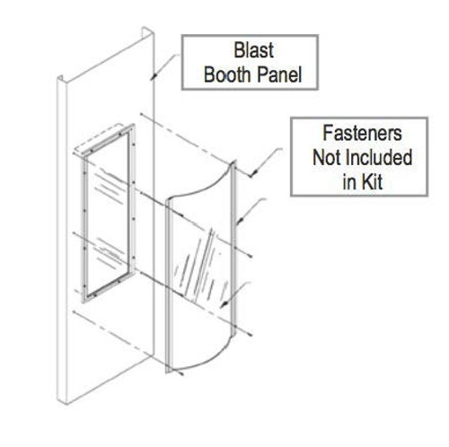 Blast Booth Light Cover Kit (4) Lamp Fixture Tough protection against high pressure blast media Versatile application, but perfect for rear access fixtures