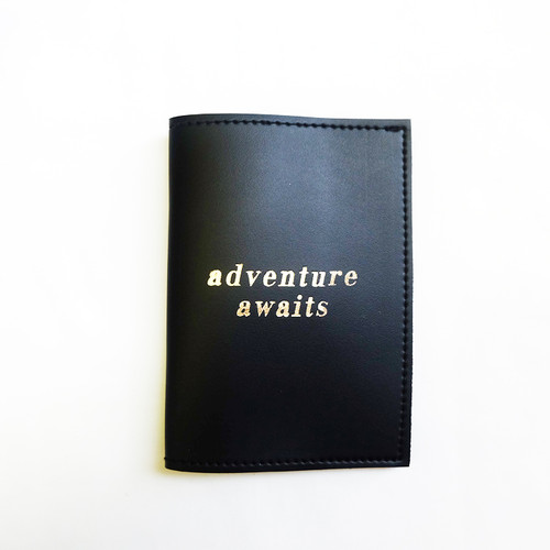 Passport Sleeve: Adventure Awaits  Black