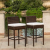 2 Pcs Brown Wicker Counter Height Bar Stool with Cushions