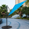 10ft Hanging Roma Offset Umbrella Outdoor Patio Sun Shade Cantilever Crank Canopy (Sunbrella Blue)