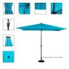 Rectangular Solar Powered 26 LED Lighted Outdoor Patio Umbrella with Crank and Tilt, Aluminum, 10 by 6.5-Feet (Blue)
