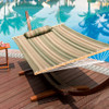 Lazy Daze Hammocks Quilted Fabric with Pillow for Two Person Double Size Spreader Bar Heavy Duty Stylish, Tan and Green Stripes