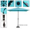 Sundale Outdoor Rectangular Solar Powered 26 LED Lighted Outdoor Patio Umbrella with Crank and Tilt, Aluminum, 9 by 6.5-Feet, Blue