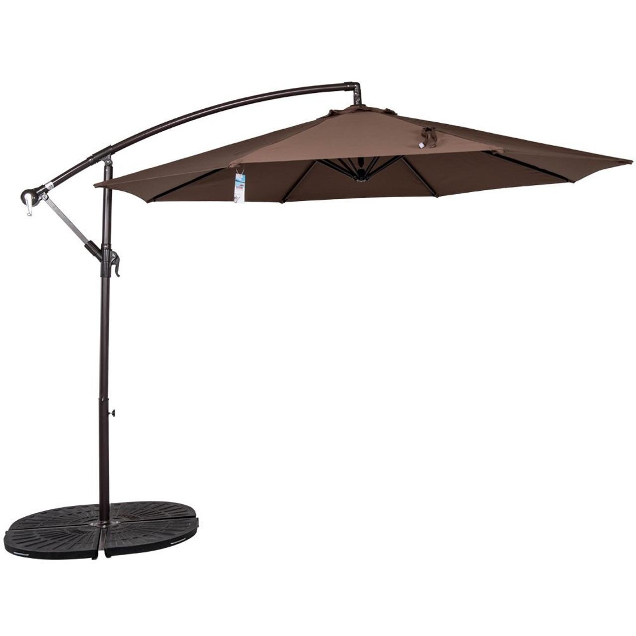 10 Feet Aluminum Offset Patio Umbrella(Chocolate)
