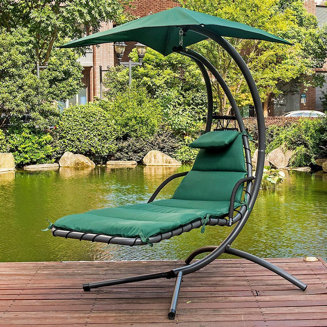 lazy daze hammocks dream chair with umbrella hanging chaise lounge chair arc curved hammock  dark dream chair dark green   rh   sundaleoutdoor