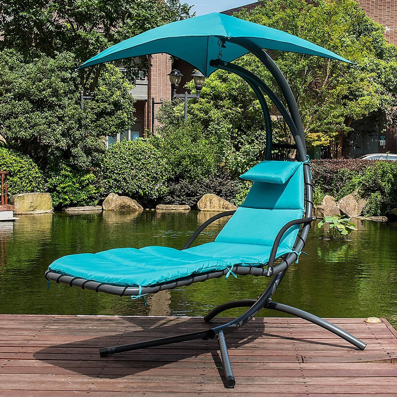 Lazy Daze Hammocks Dream Chair With Umbrella Hanging Chaise Lounge Chair  Arc Curved Hammock (Lake